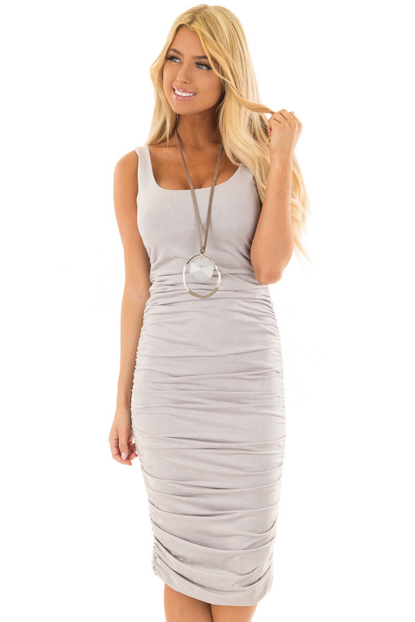 Heather Grey Suede Ruched Midi Dress front closeup