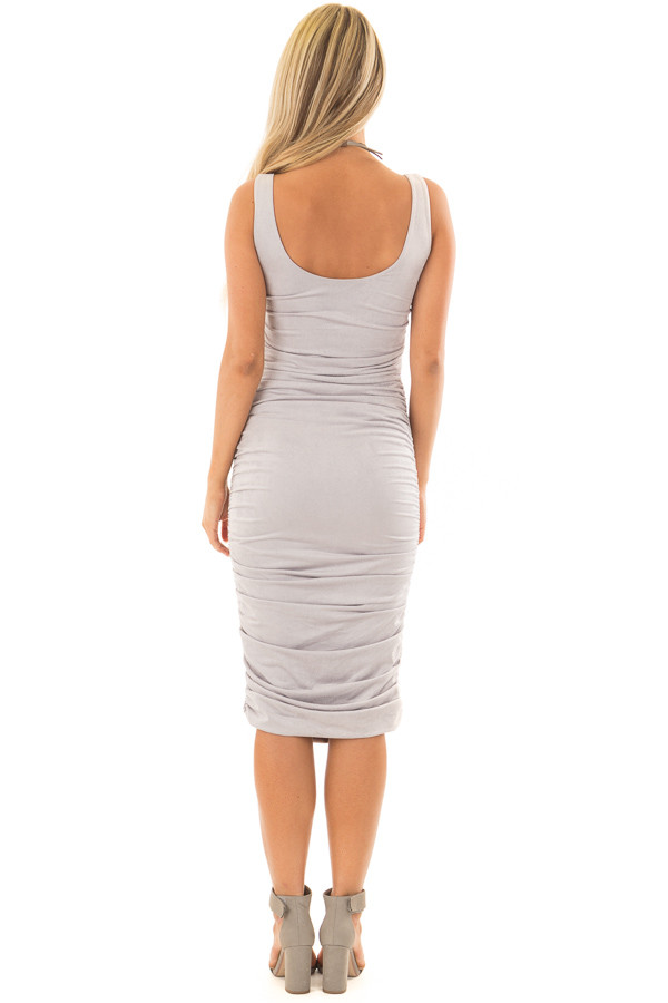 Heather Grey Suede Ruched Midi Dress back full body