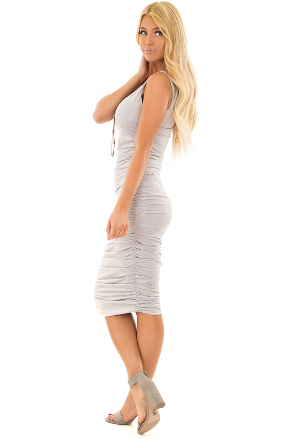 Heather Grey Suede Ruched Midi Dress side full body
