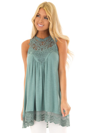 Light Teal Sleeveless Tunic with Crocheted Detail front closeup