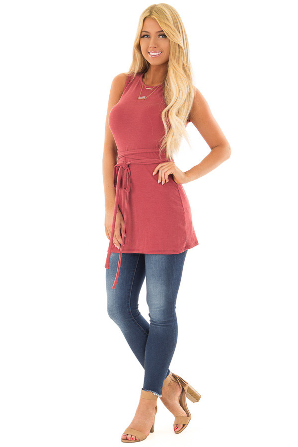 Brick Ribbed Wrap Tie Backless Tunic Top front full body