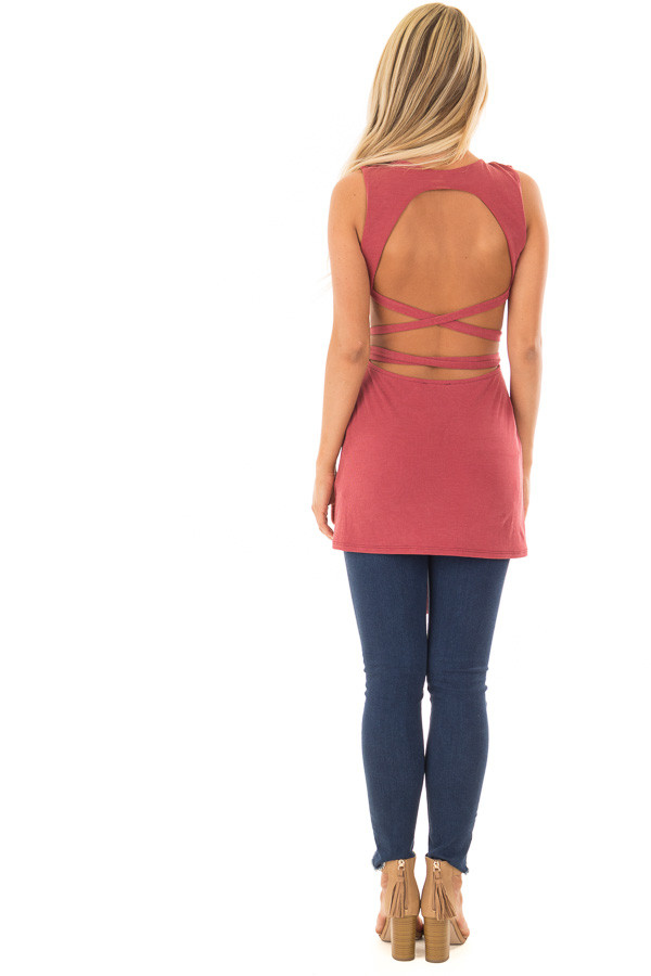 Brick Ribbed Wrap Tie Backless Tunic Top back full body