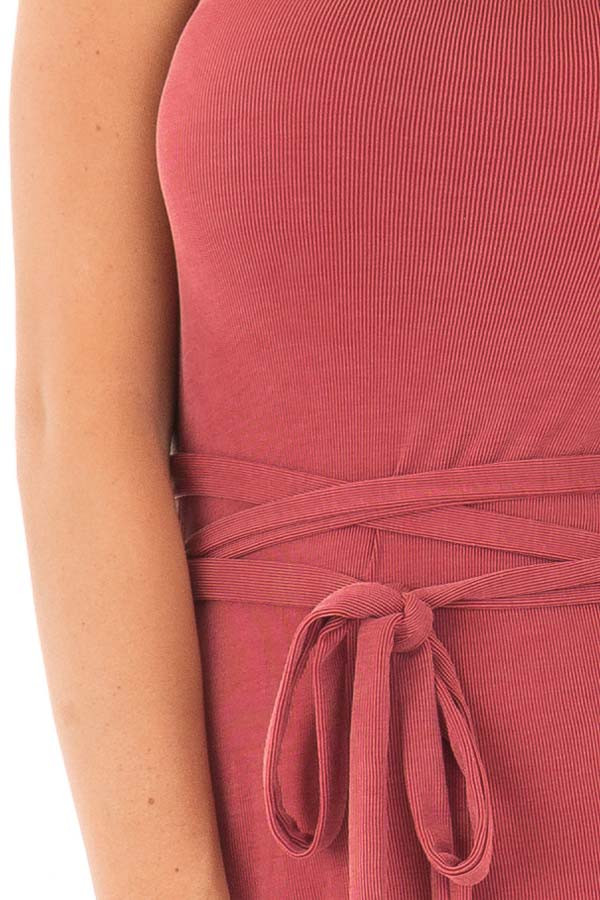 Brick Ribbed Wrap Tie Backless Tunic Top front detail