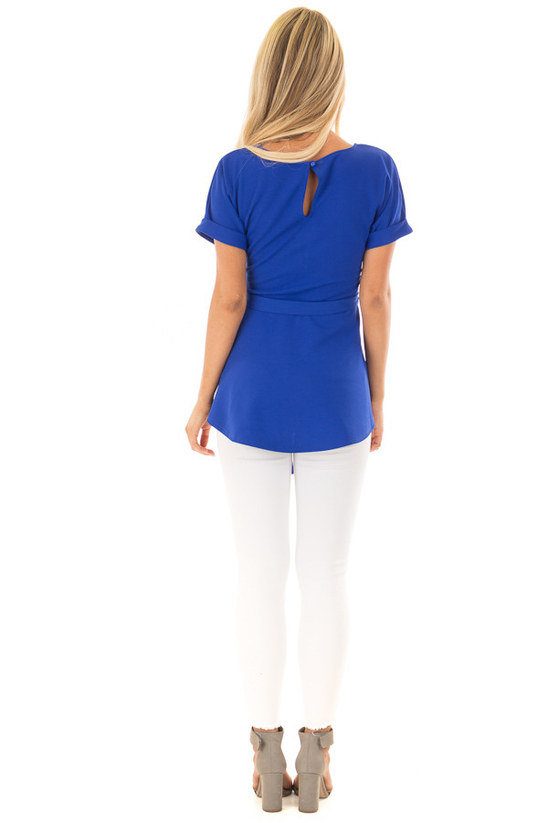 Royal Blue Top with Waist Tie Detail back full body