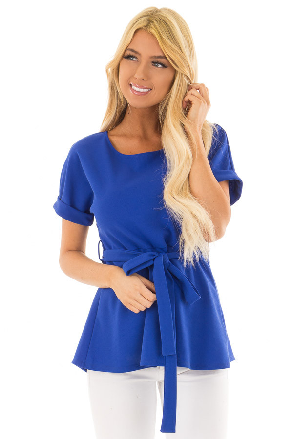 Royal Blue Top with Waist Tie Detail front closeup