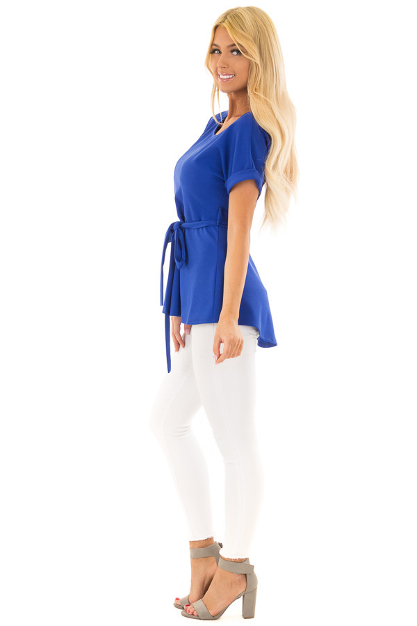 Royal Blue Top with Waist Tie Detail side full body
