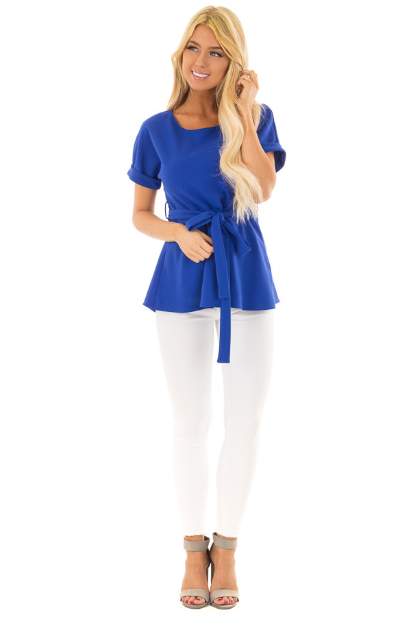 Royal Blue Top with Waist Tie Detail front full body