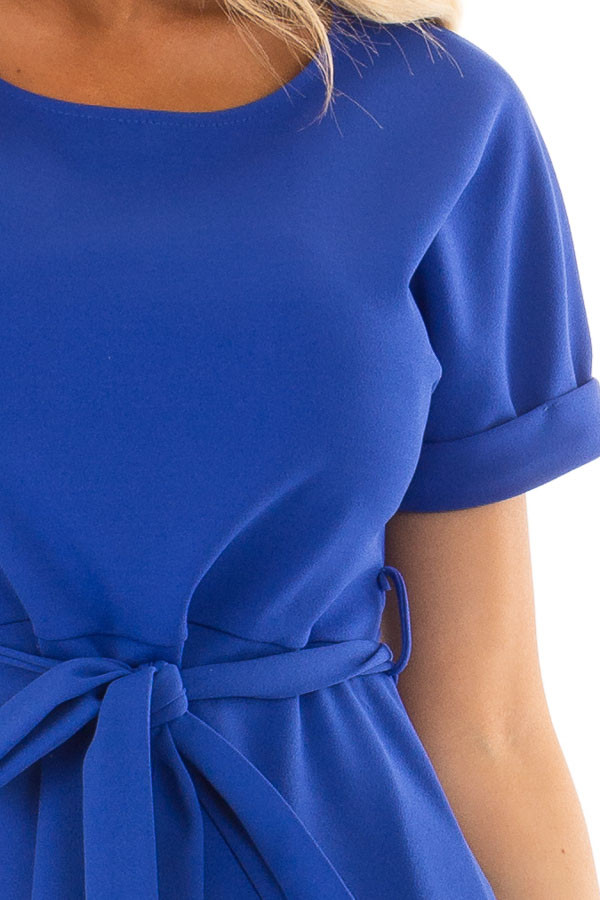 Royal Blue Top with Waist Tie Detail front detail