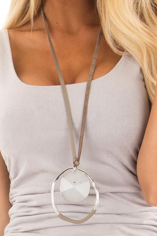 Grey Large Stone Pendant Necklace with Genuine Leather detail