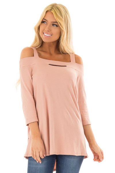 Dusty Rose Cold Shoulder Top with 3/4 Sleeves front closeup