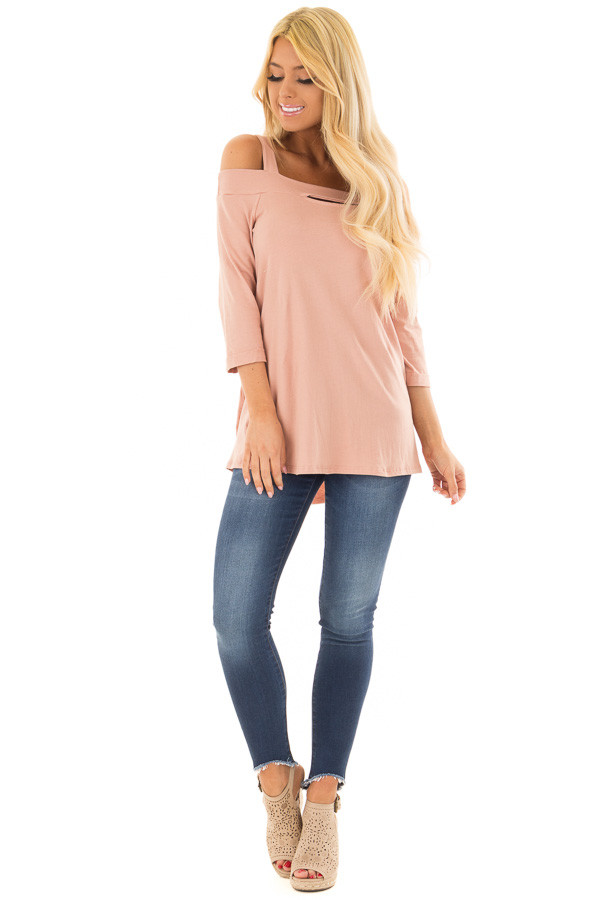 Dusty Rose Cold Shoulder Top with 3/4 Sleeves front full body