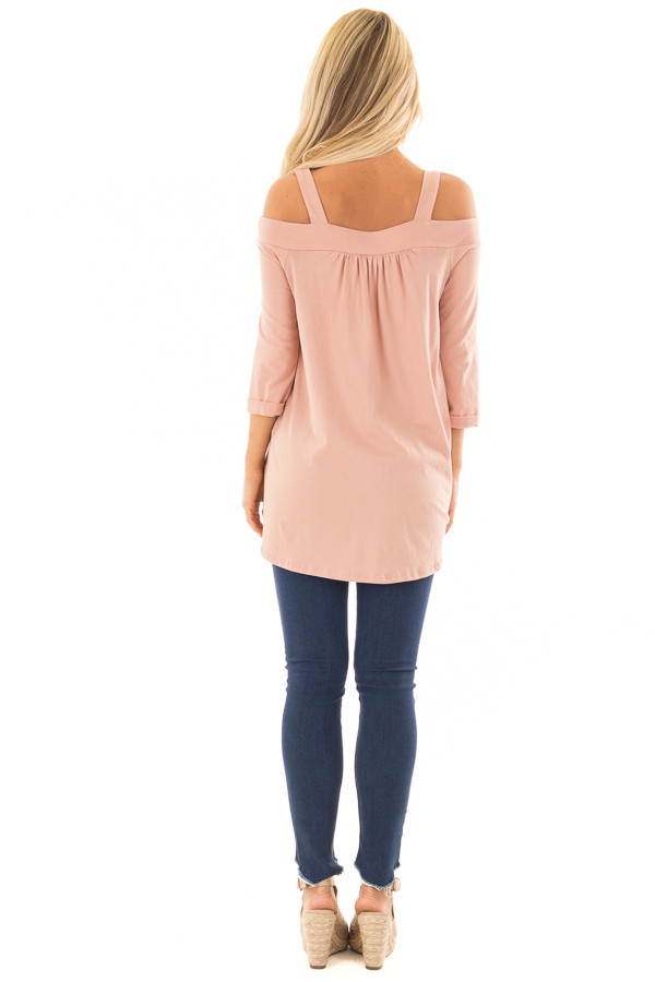 Dusty Rose Cold Shoulder Top with 3/4 Sleeves back full body
