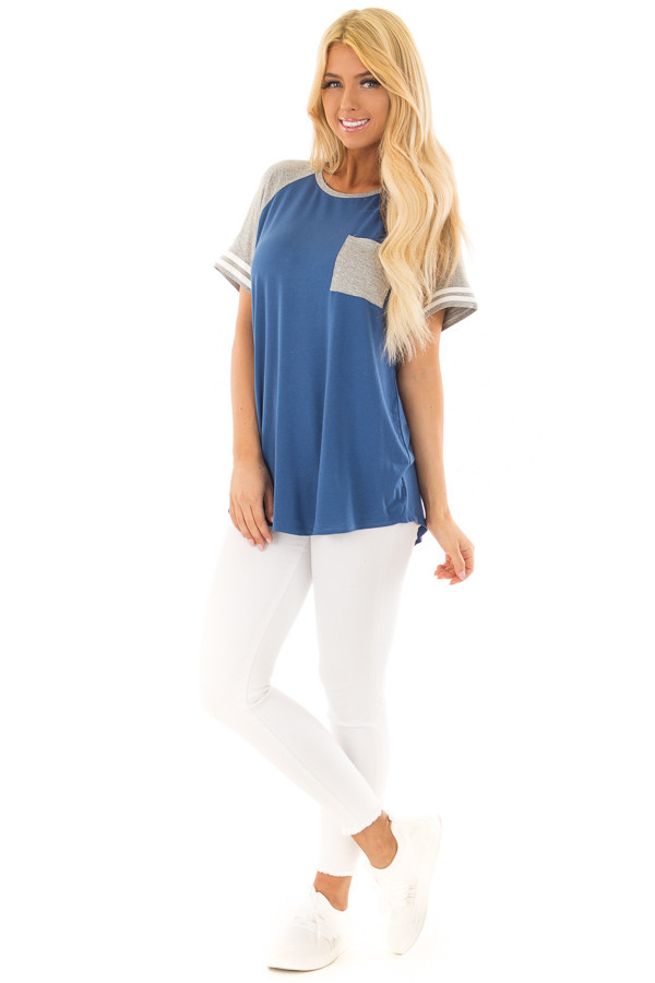 Royal Blue and Steel Grey Baseball Tee with Ivory Details front full body