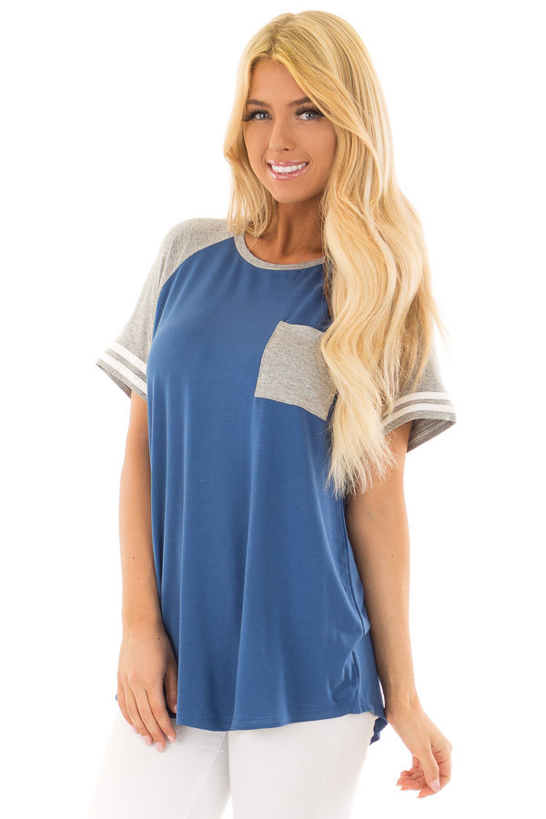 Royal Blue and Steel Grey Baseball Tee with Ivory Details front closeup