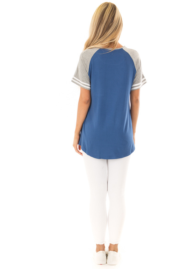 Royal Blue and Steel Grey Baseball Tee with Ivory Details back full body