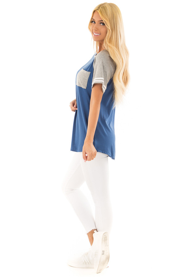 Royal Blue and Steel Grey Baseball Tee with Ivory Details side full body