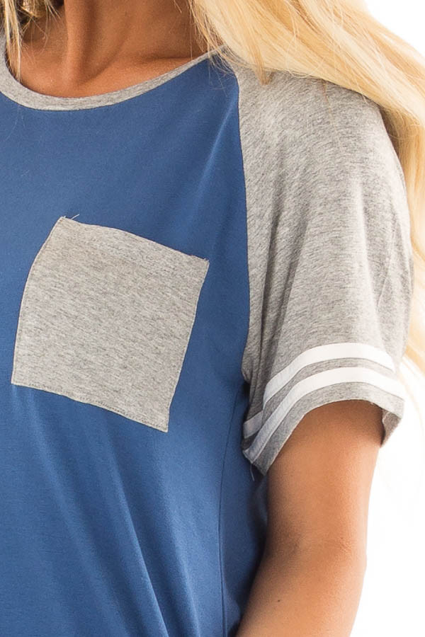 Royal Blue and Steel Grey Baseball Tee with Ivory Details front detail