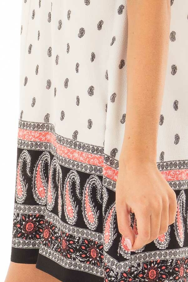 Ivory V Neck with Paisley Print Tunic Dress side detail