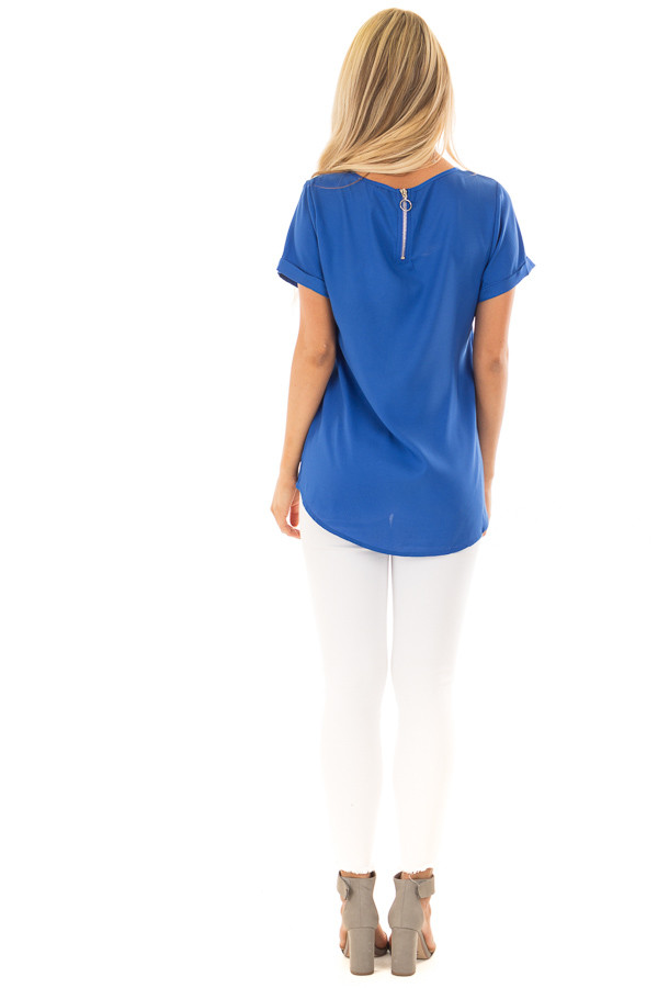 Azur Silk Short Sleeve Top with Zipper Back back full body