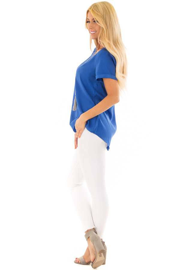 Azur Silk Short Sleeve Top with Zipper Back side full body