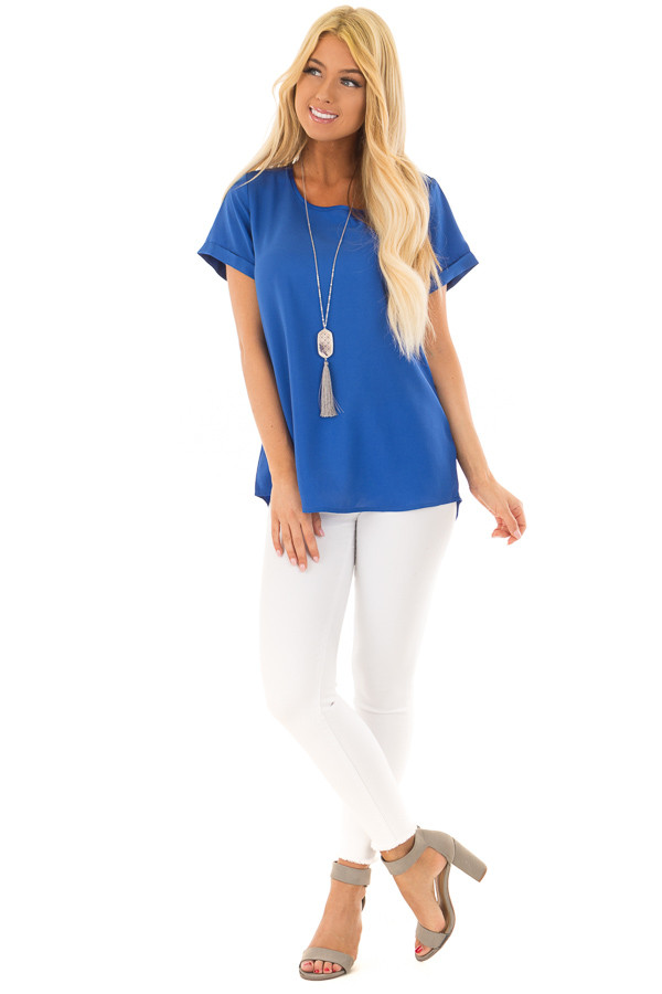 Azur Silk Short Sleeve Top with Zipper Back front full body