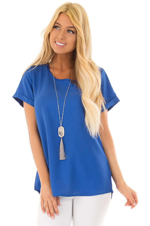 Azur Silk Short Sleeve Top with Zipper Back front closeup