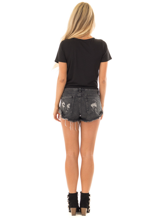 Black Short Sleeve Top with front Tie Detail back full body