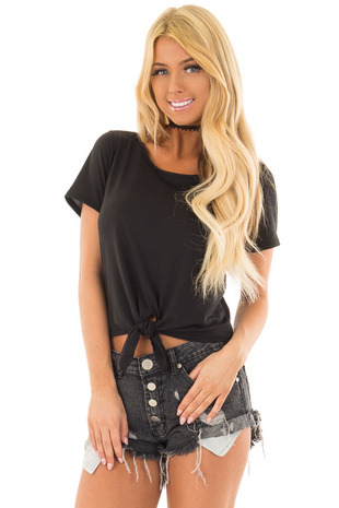 Black Short Sleeve Top with front Tie Detail front closeup