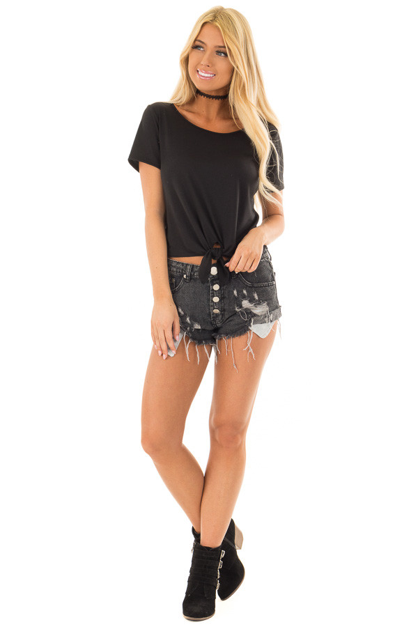 Black Short Sleeve Top with front Tie Detail front full body