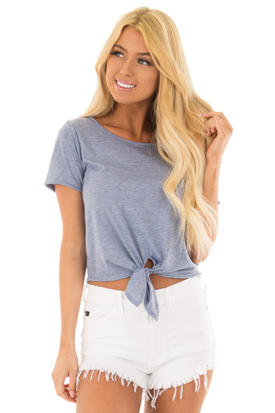 Light Blue Short Sleeve Top with front Tie Detail front closeup