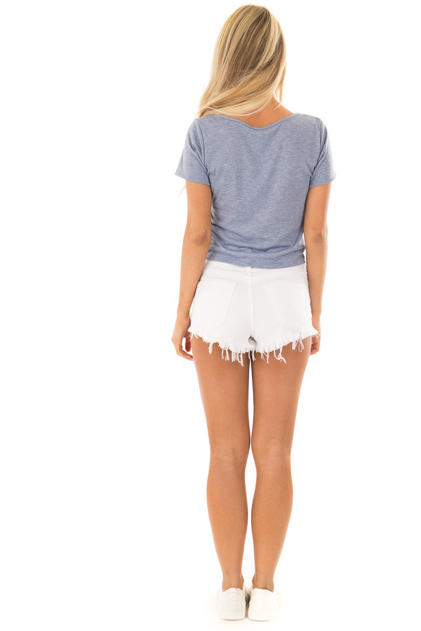 Light Blue Short Sleeve Top with front Tie Detail back full body