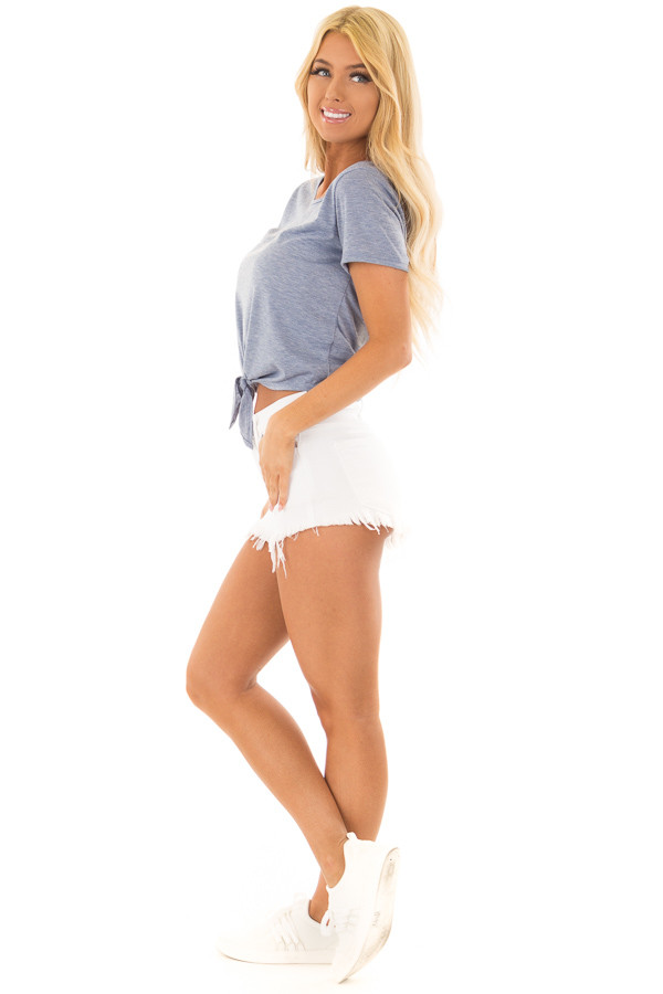 Light Blue Short Sleeve Top with front Tie Detail side full body