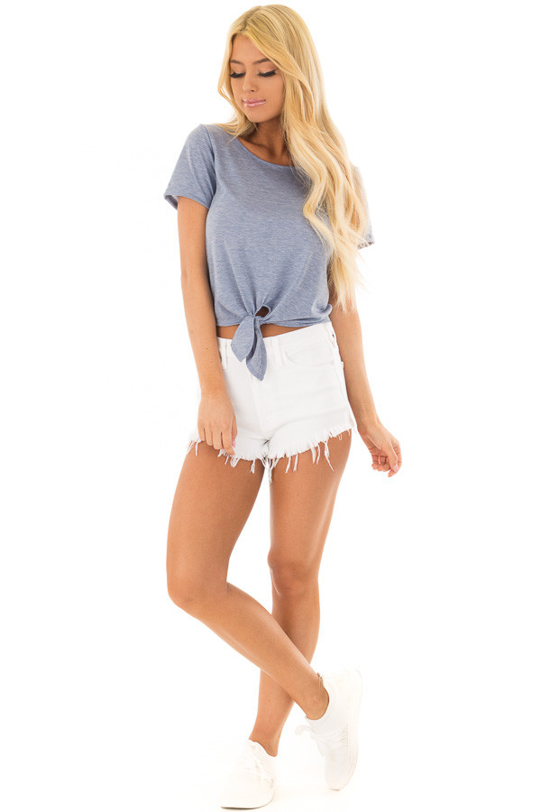 Light Blue Short Sleeve Top with front Tie Detail front full body