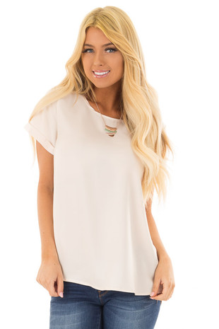 Champagne Silk Short Sleeve Top with Zipper Back front closeup