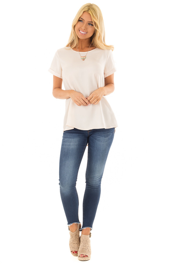 Champagne Silk Short Sleeve Top with Zipper Back front full body