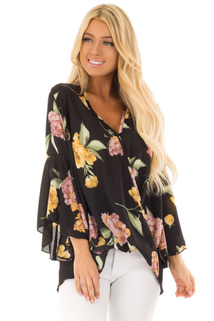 Black Floral Print Surplice Blouse with Bell Sleeves front closeup