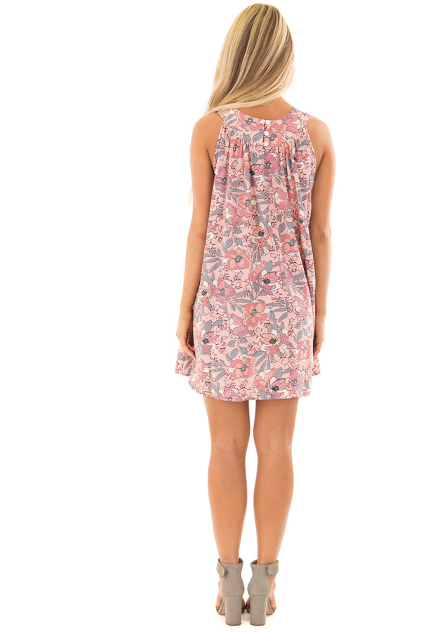 Soft Pink Sleeveless Floral Tunic Dress with Button Back back full body