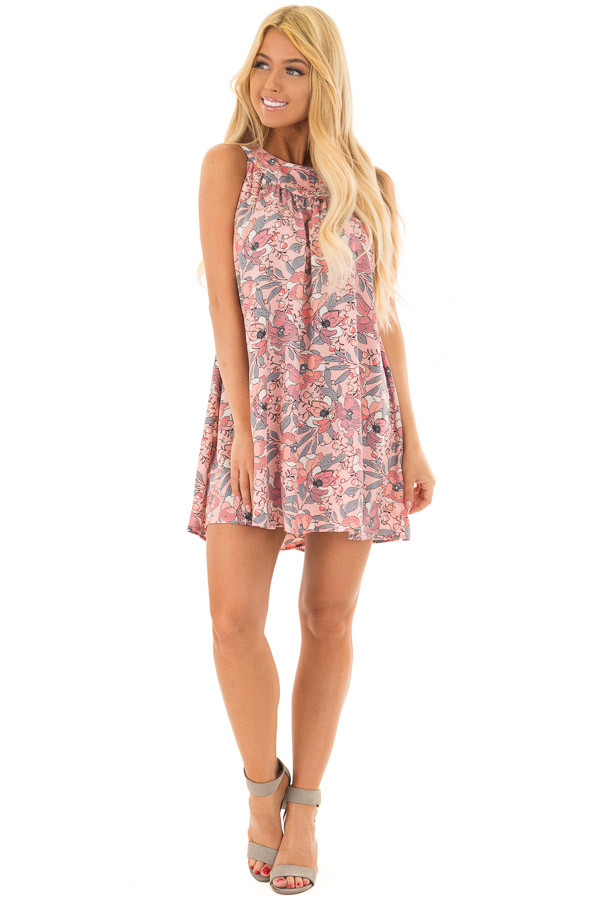 Soft Pink Sleeveless Floral Tunic Dress with Button Back front full body