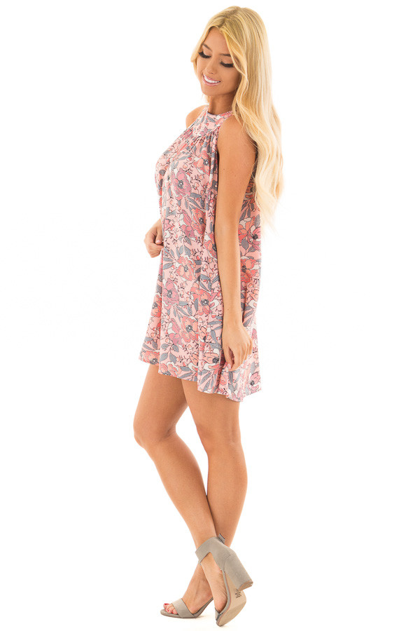 Soft Pink Sleeveless Floral Tunic Dress with Button Back side full body