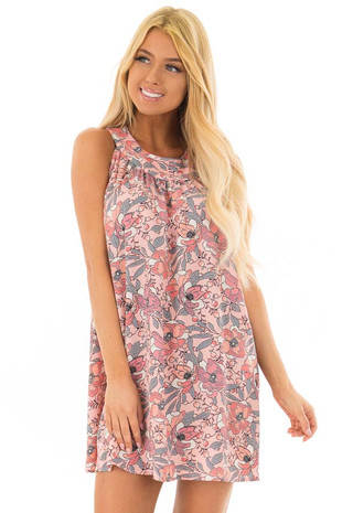 Soft Pink Sleeveless Floral Tunic Dress with Button Back front closeup