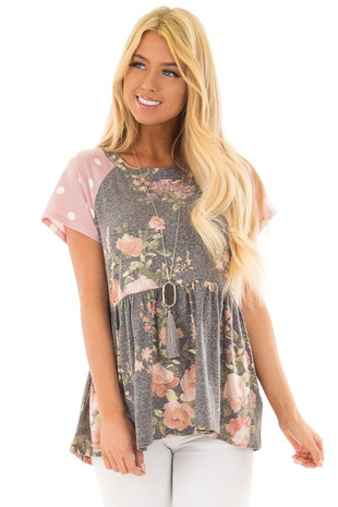 Charcoal Floral Print Top with Blush Polka Dot Sleeves front closeup