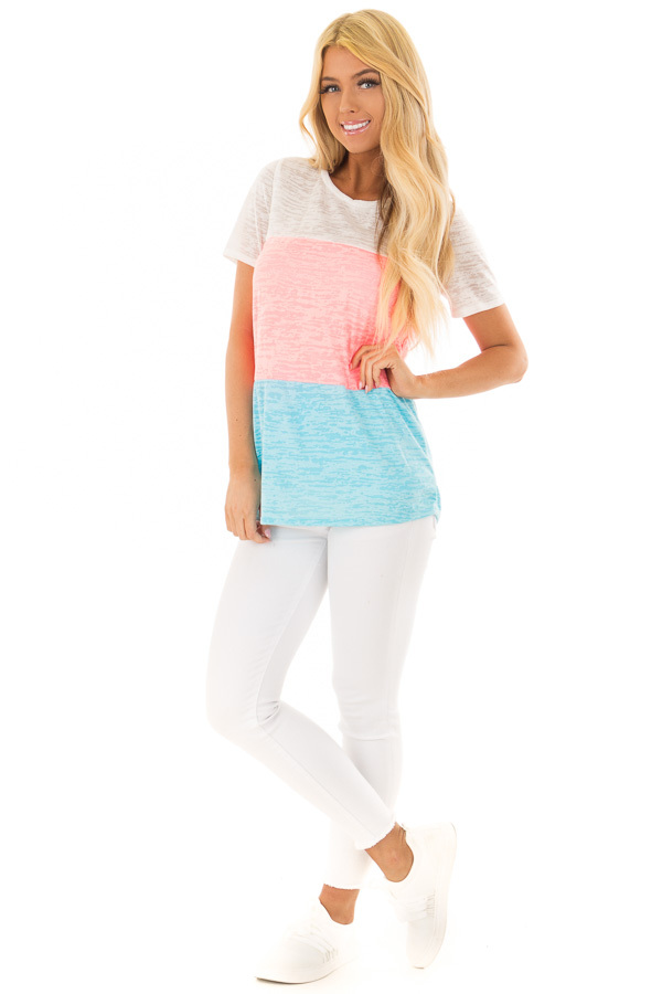 Punch Pink and Cotton Candy Blue Color Block Top front full body