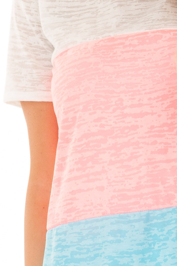 Punch Pink and Cotton Candy Blue Color Block Top front detail