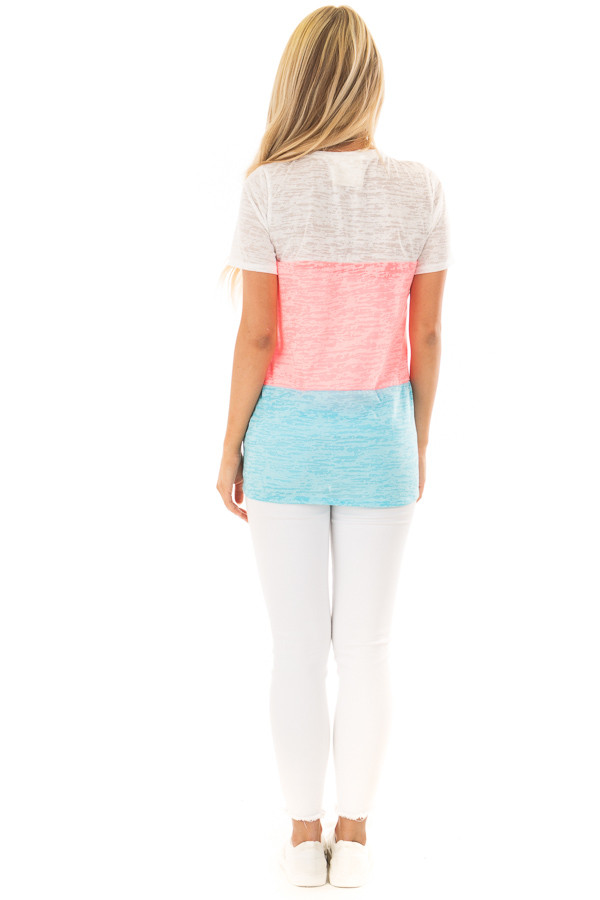 Punch Pink and Cotton Candy Blue Color Block Top back full body