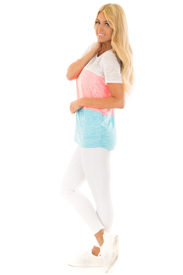 Punch Pink and Cotton Candy Blue Color Block Top side full body
