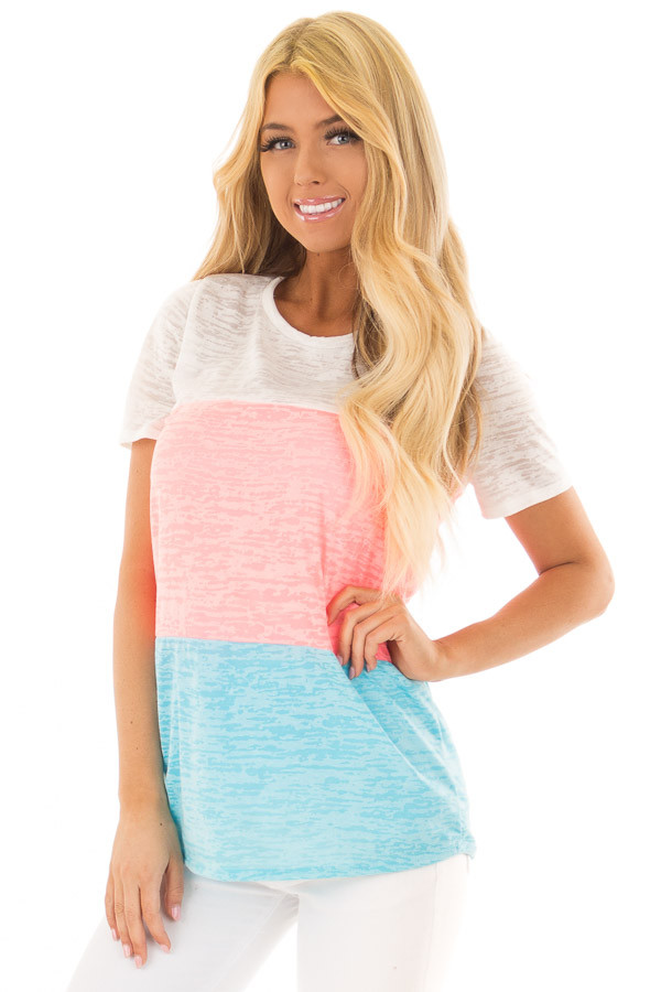 Punch Pink and Cotton Candy Blue Color Block Top front closeup