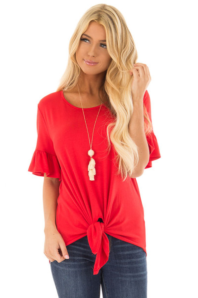 Poppy Red Short Sleeve Ruffle Top with Front Tie Detail front closeup