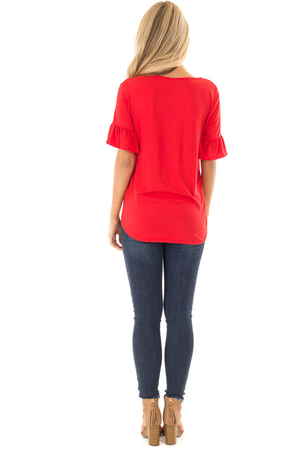 Poppy Red Short Sleeve Ruffle Top with Front Tie Detail back full body