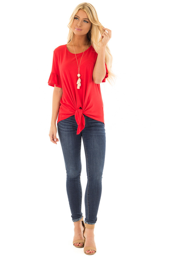 Poppy Red Short Sleeve Ruffle Top with Front Tie Detail front full body