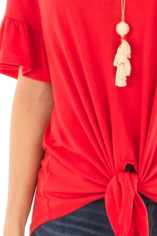 Poppy Red Short Sleeve Ruffle Top with Front Tie Detail front detail